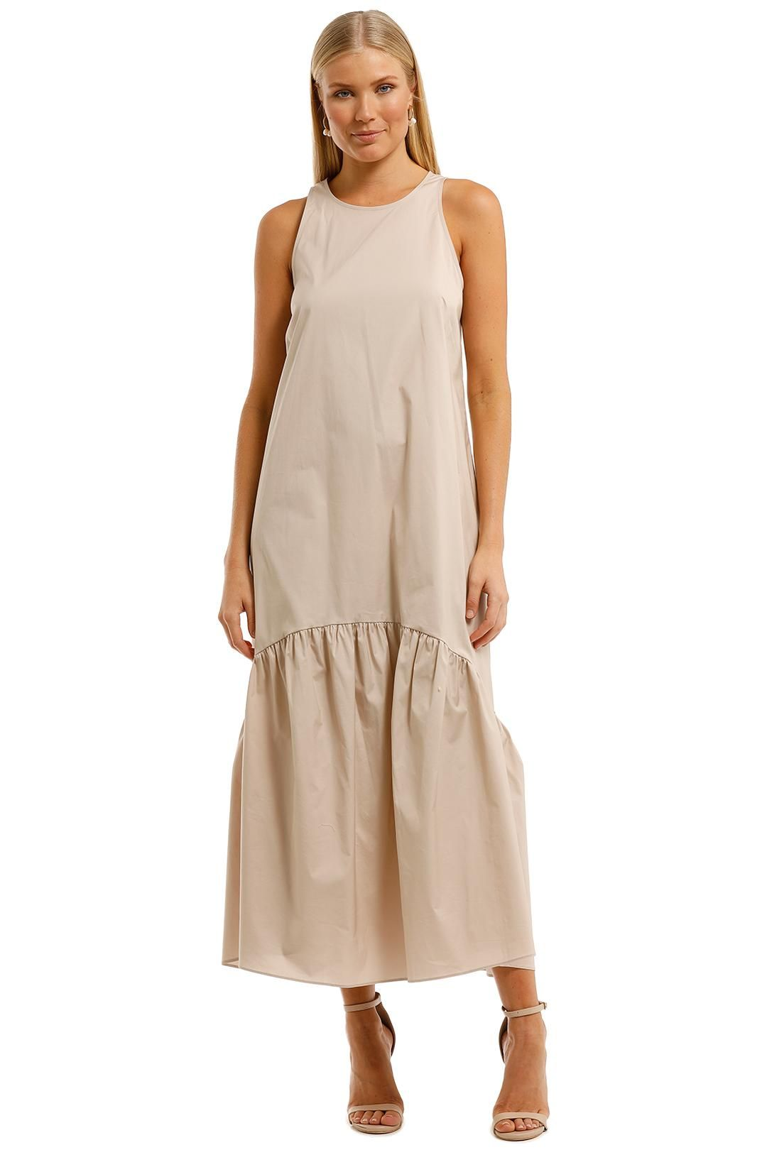 Witchery Tiered Hem Maxi Dress Canvas Relaxed Fit