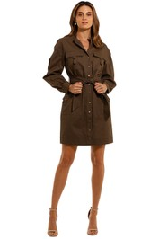 Witchery Utility Cotton Dress Olive belted