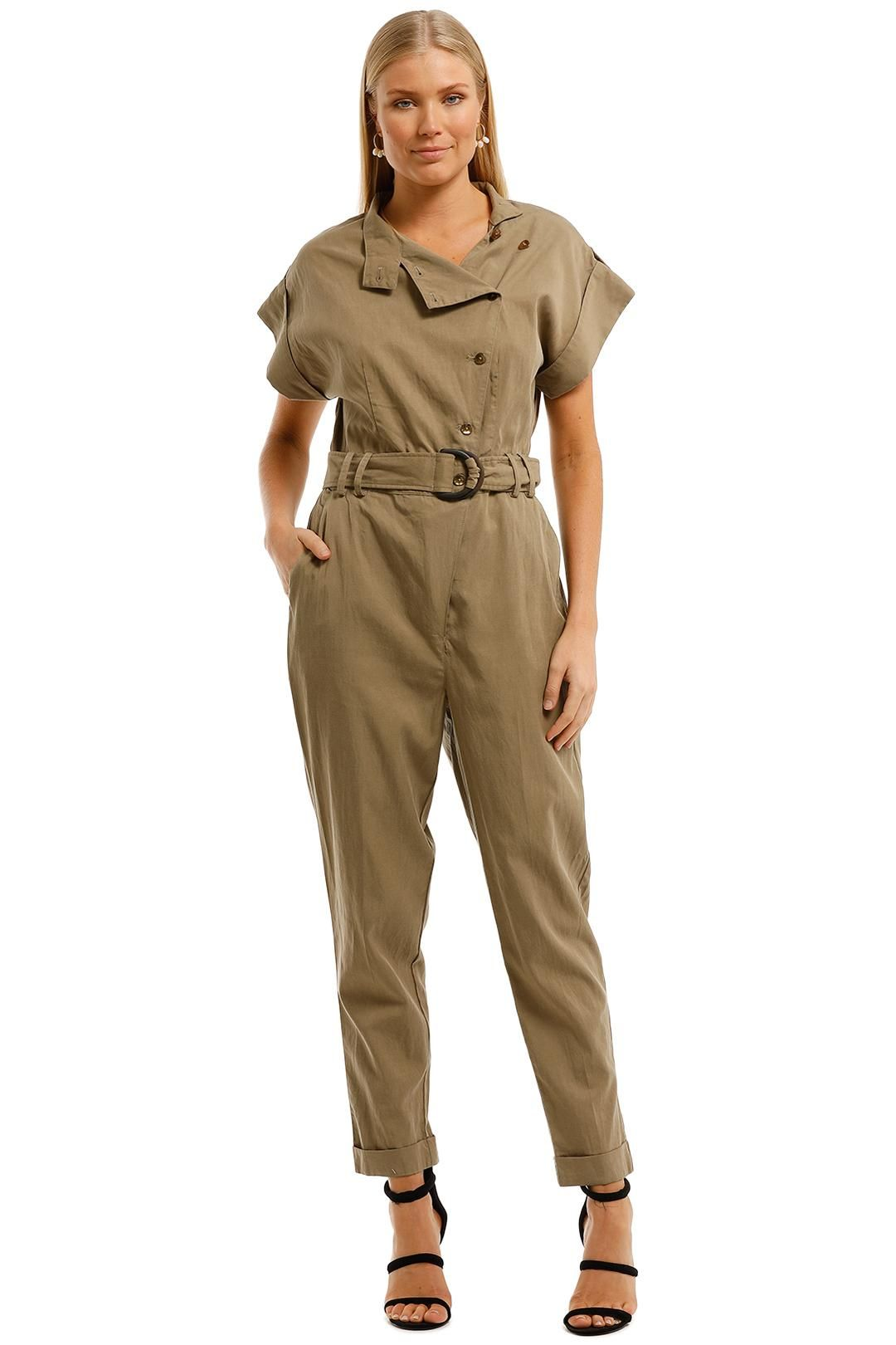 Witchery Utility Jumpsuit Pale Khaki Green Short Sleeve