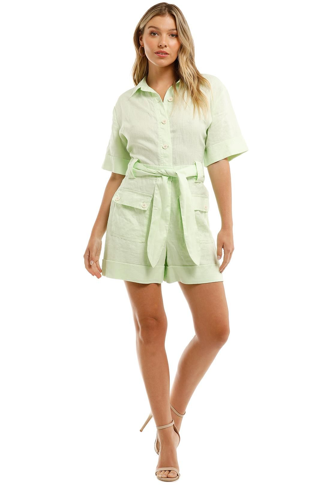 Witchery Utility Playsuit Lime Sorbet Belted