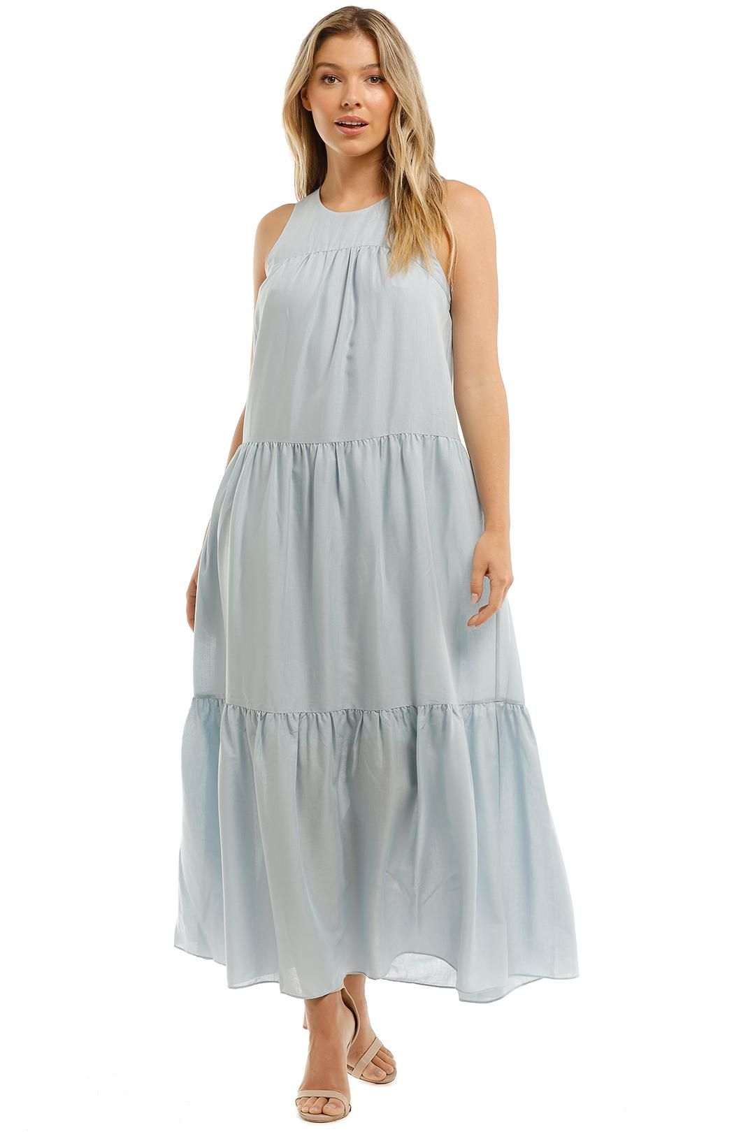 Witchery Yoke Tiered Maxi Dress Arctic Blue