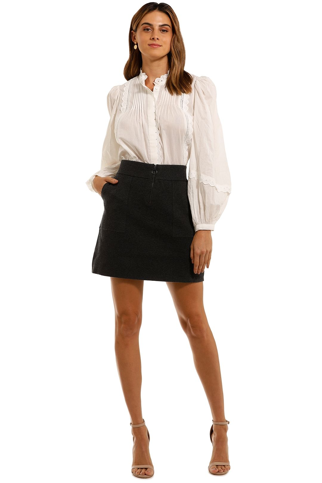 Witchery Zip Knit Skirt Charcoal Marle
