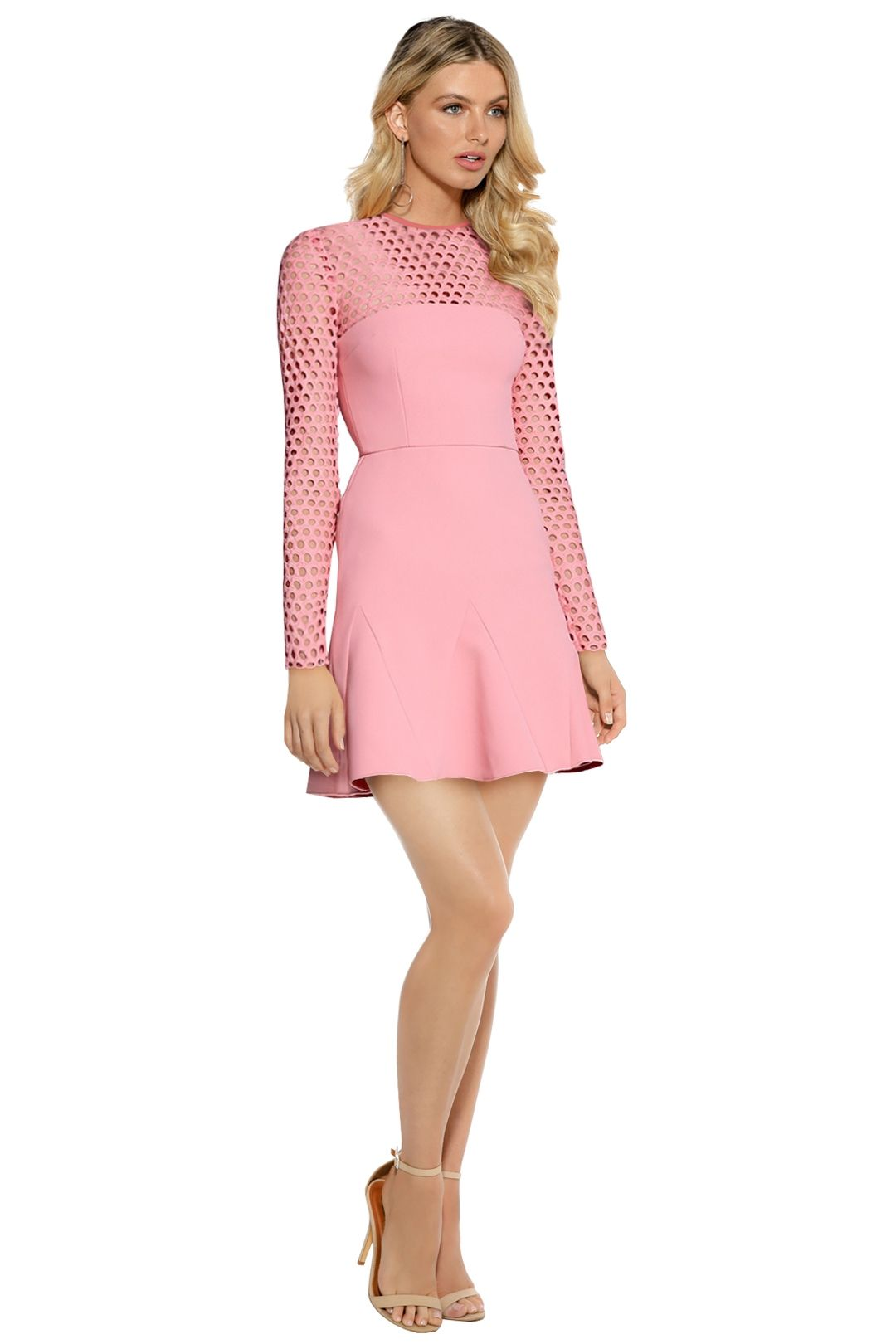 Yeojin Bae - Embroidered Net Double Crepe Mia Dress - Pink - Front