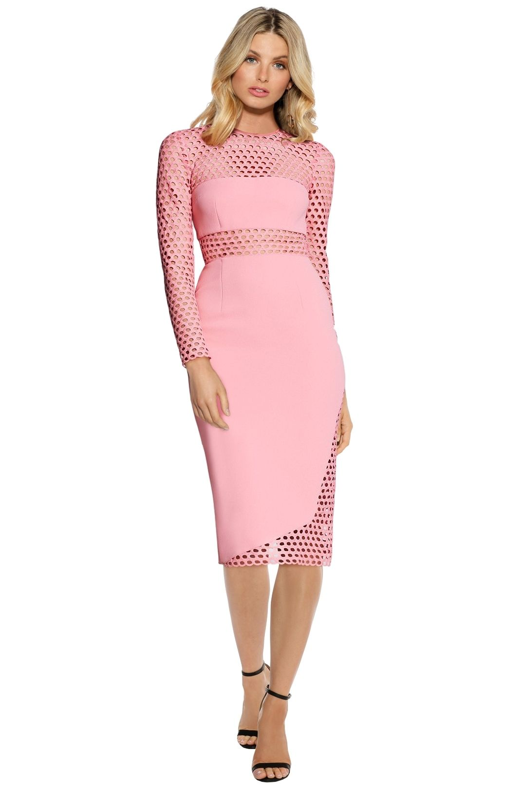 Yeojin Bae - Embroidered Net Double Crpe Zoe Dress - Pink - Front