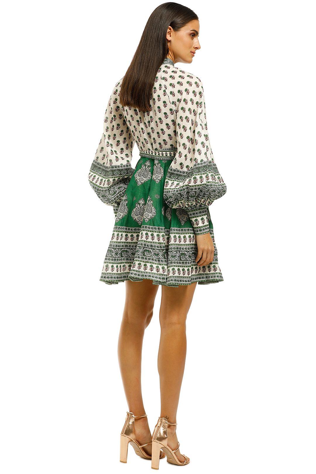 Zimmermann-Amari-Emerald-Buttoned-Dress-Green-Paisley-Back