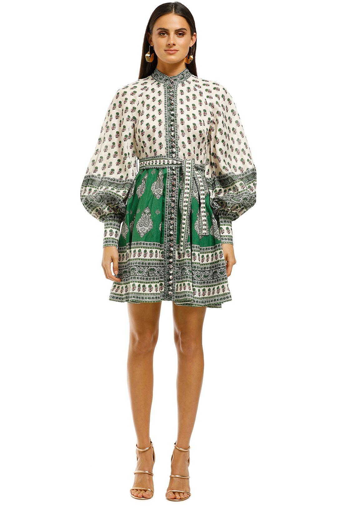 Zimmermann-Amari-Emerald-Buttoned-Dress-Green-Paisley-Front