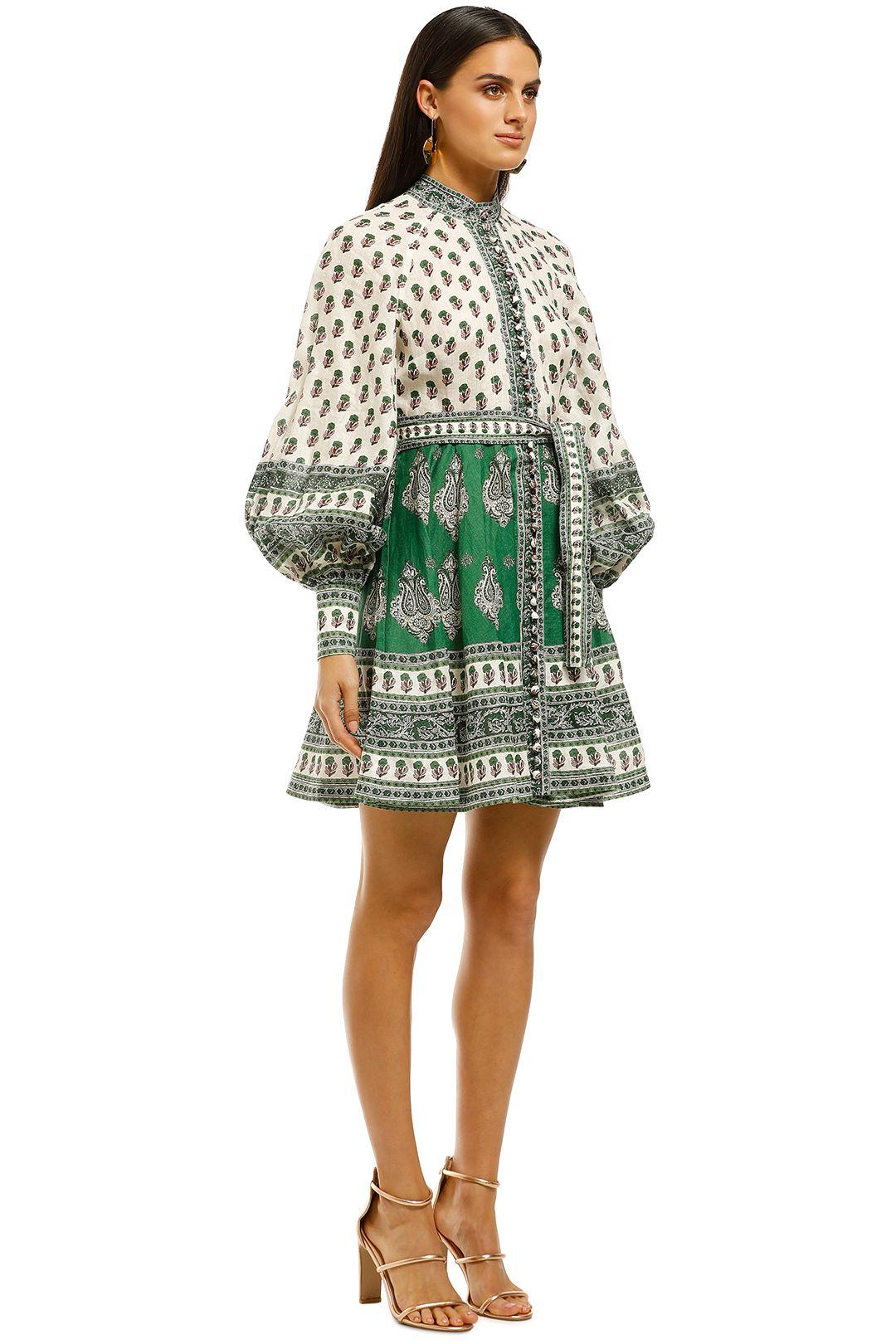 Zimmermann-Amari-Emerald-Buttoned-Dress-Green-Paisley-Side