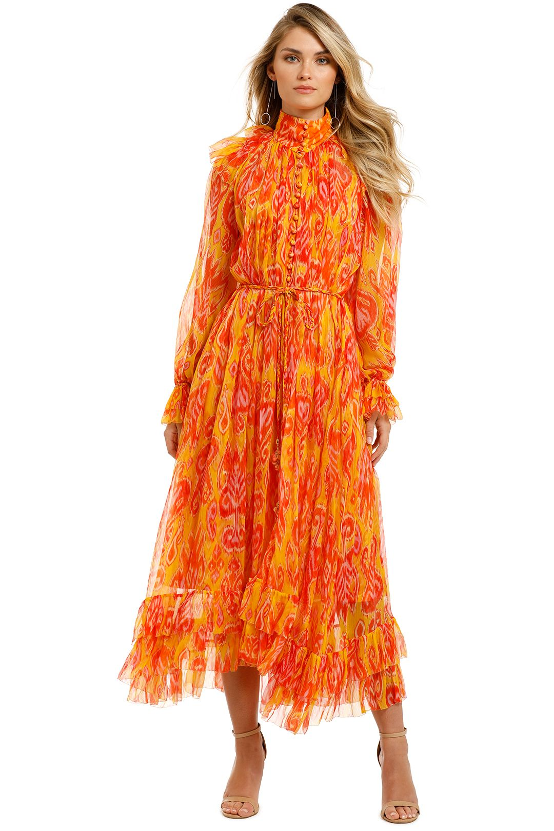 Zimmermann-Brightside-Frilled-Midi-Dress-Golden-Ikat-Front