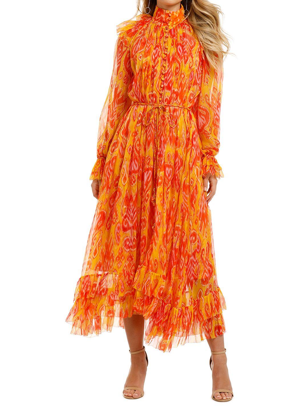 Zimmermann-Brightside-Frilled-Midi-Dress-Golden-Ikat-Front