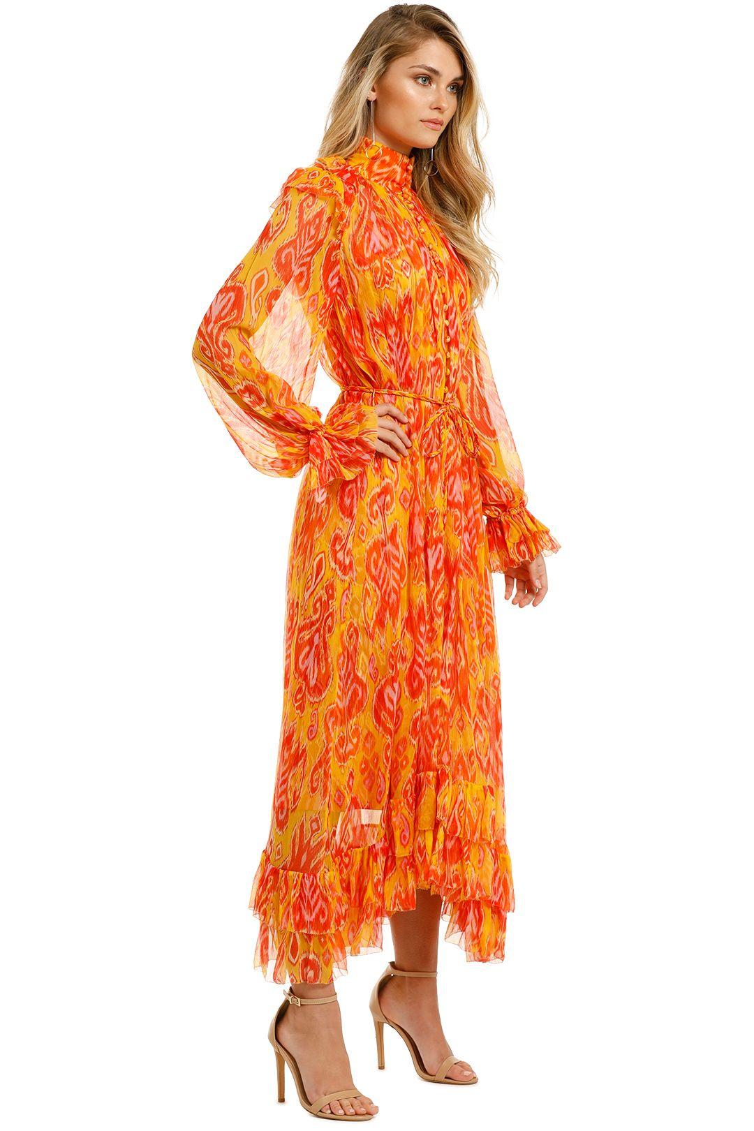 Zimmermann-Brightside-Frilled-Midi-Dress-Golden-Ikat-Side