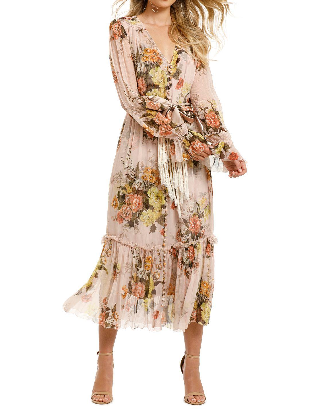 Zimmermann-Brightside-Lantern-Sleeve-Midi-Dress-Blush-Daphne-Front