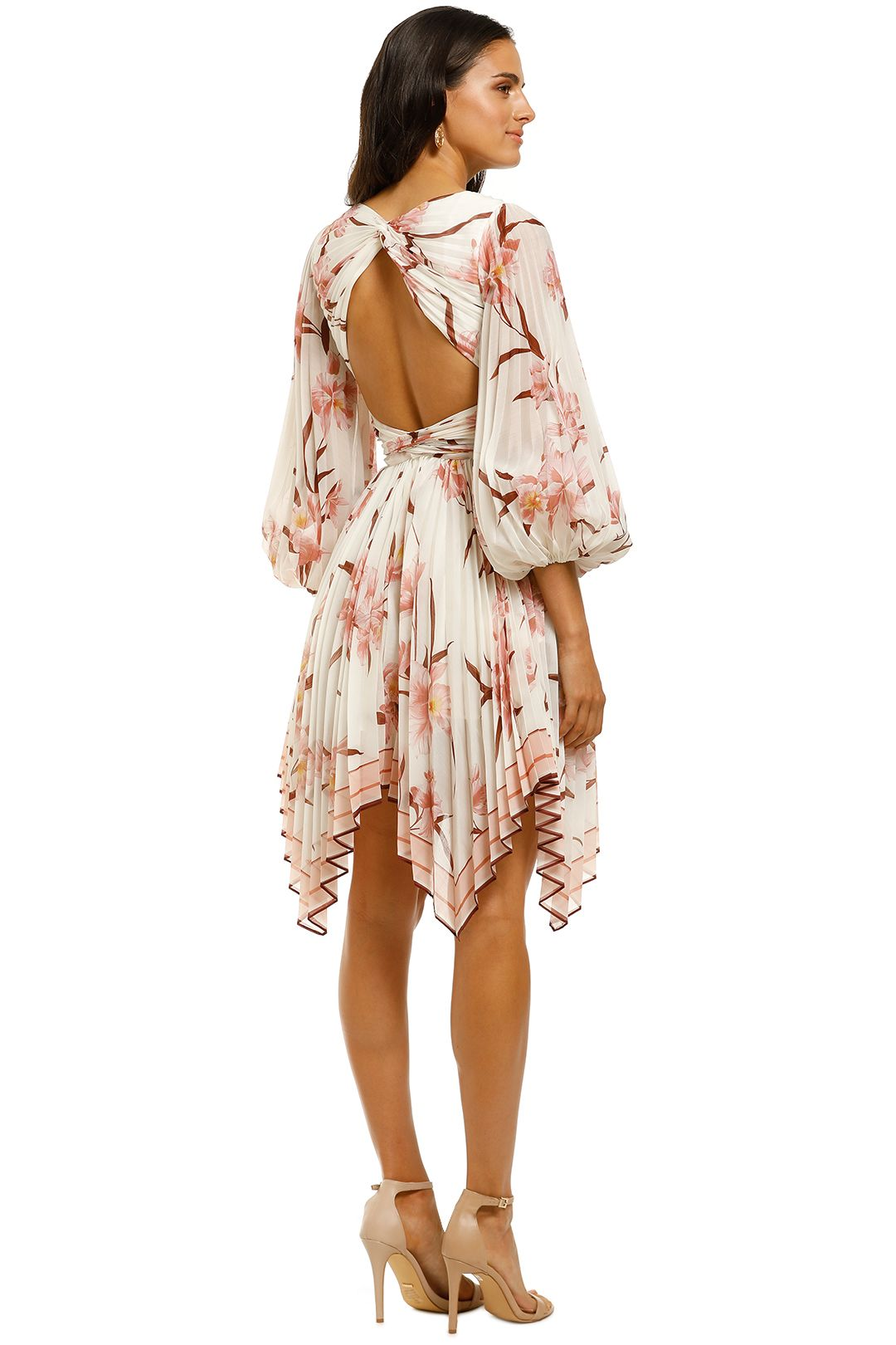 Zimmermann-Corsage-Pleat-Mini-Dress-Ivory-Peach-Orchid-Back