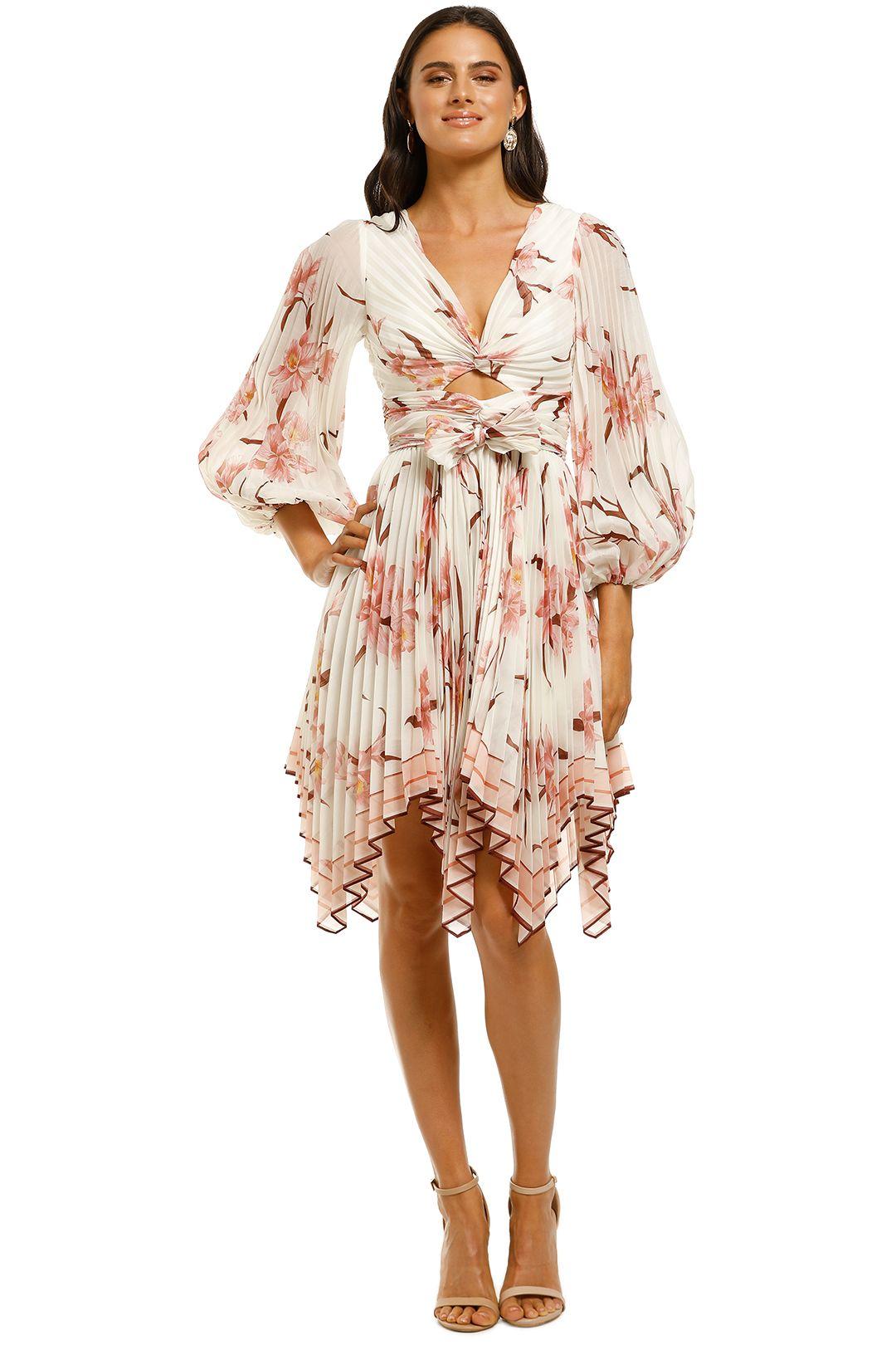 Zimmermann-Corsage-Pleat-Mini-Dress-Ivory-Peach-Orchid-Front