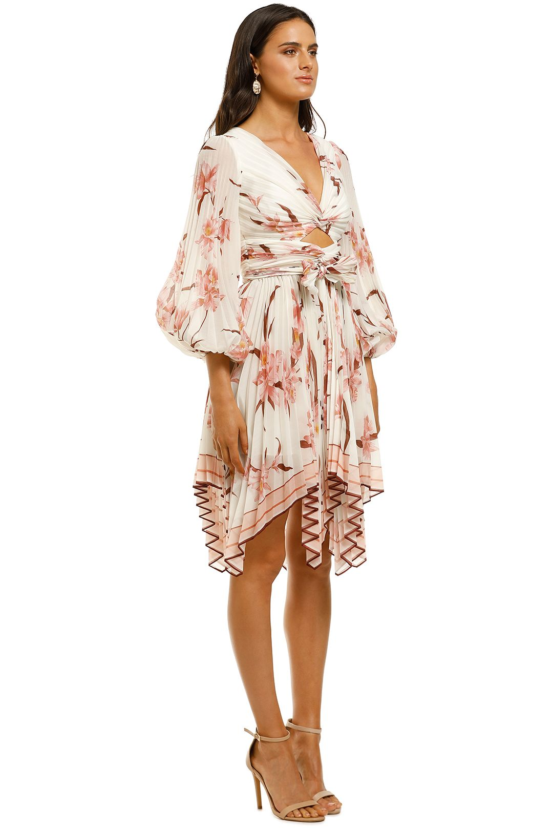 Zimmermann-Corsage-Pleat-Mini-Dress-Ivory-Peach-Orchid-Side