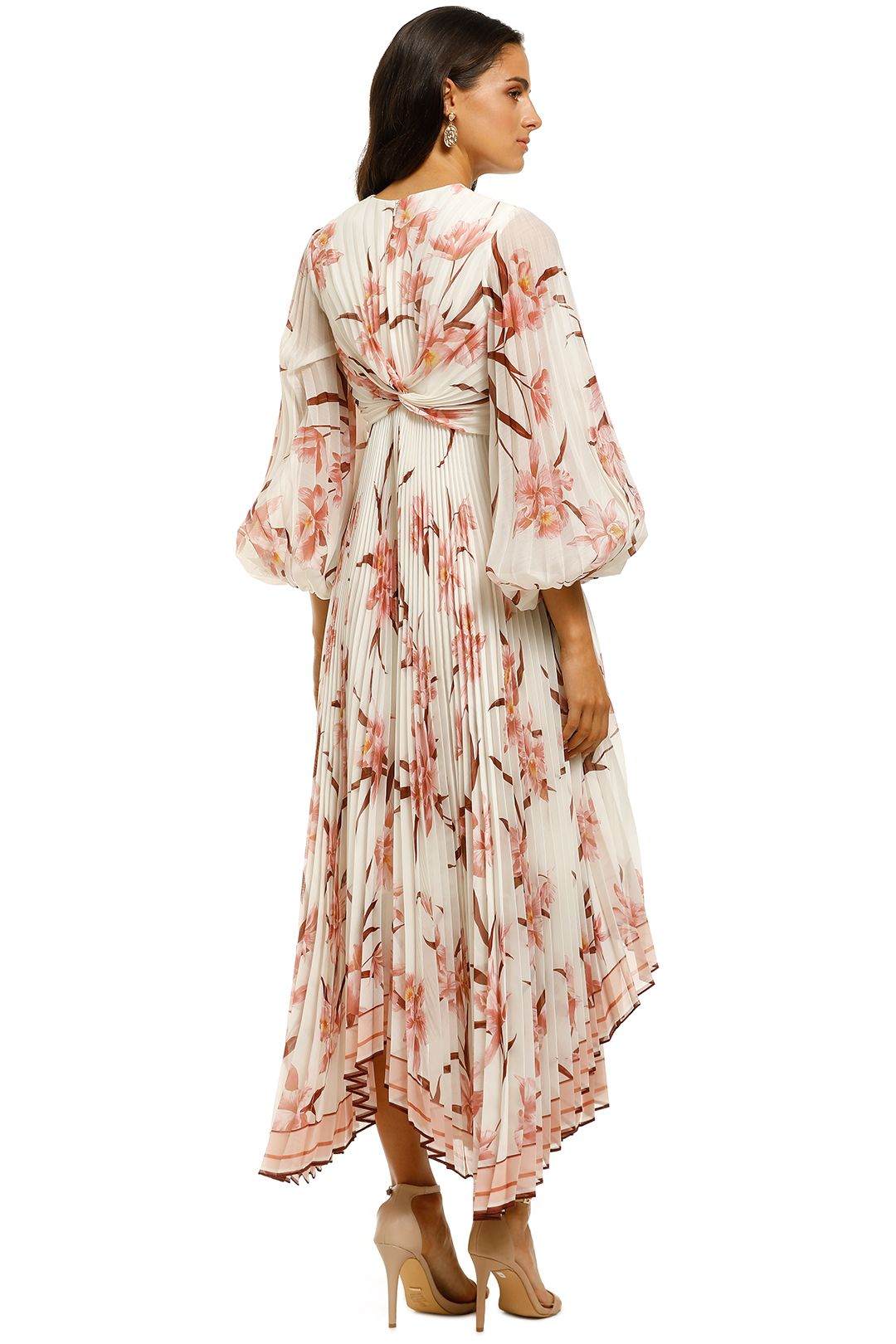Zimmermann-Corsage-Pleated-Dress-Ivory-Peach-Orchid-Back