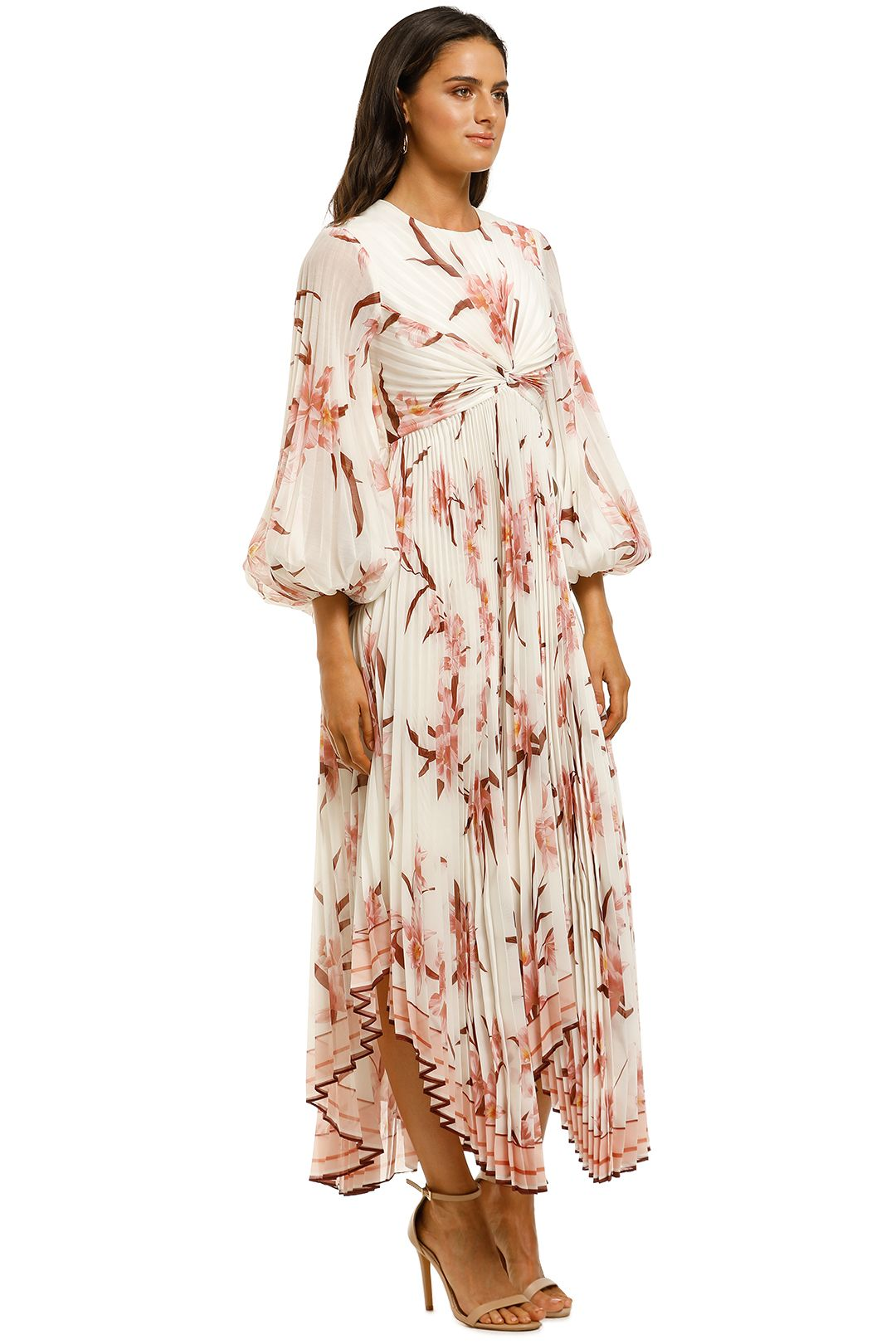 Zimmermann-Corsage-Pleated-Dress-Ivory-Peach-Orchid-Side