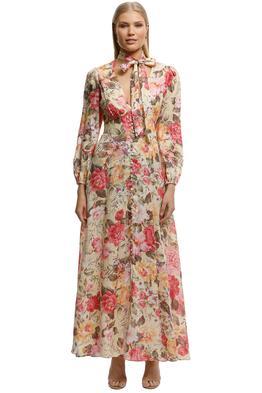 Zimmermann-Honour Plunge Long Dress-Print-Front