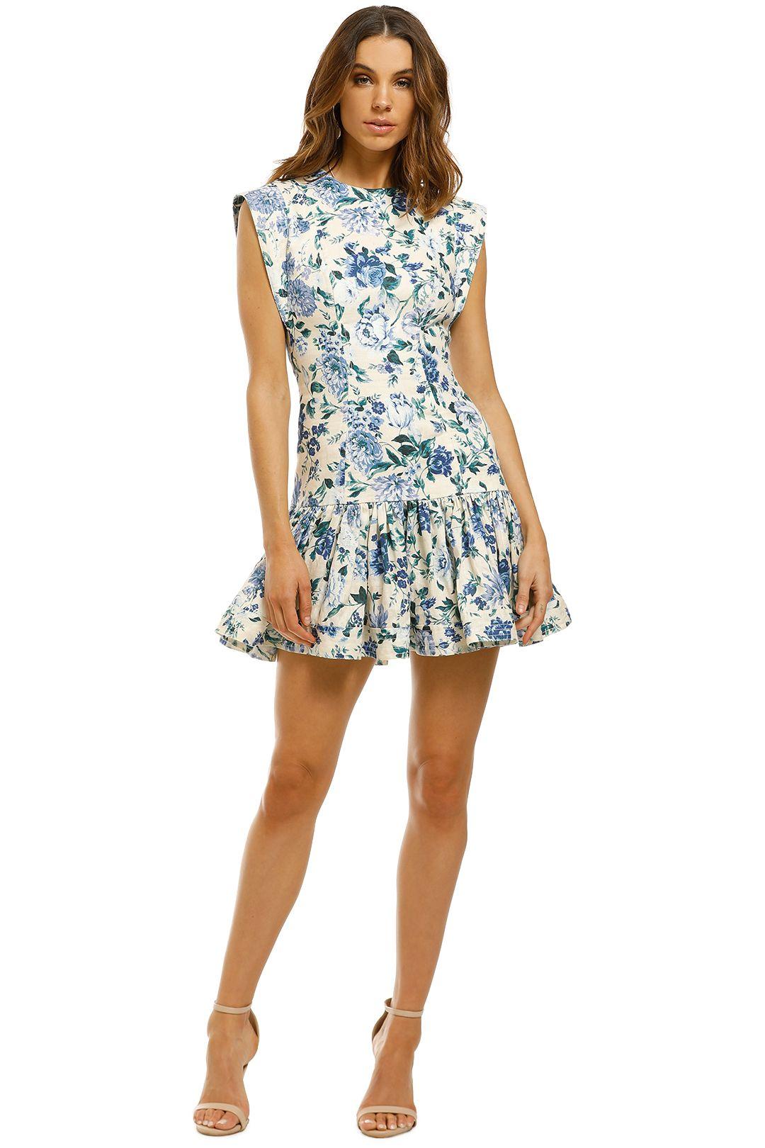 Zimmermann-Moncur-Flounce-Short-Dress-Aquamarine-Floral-Front