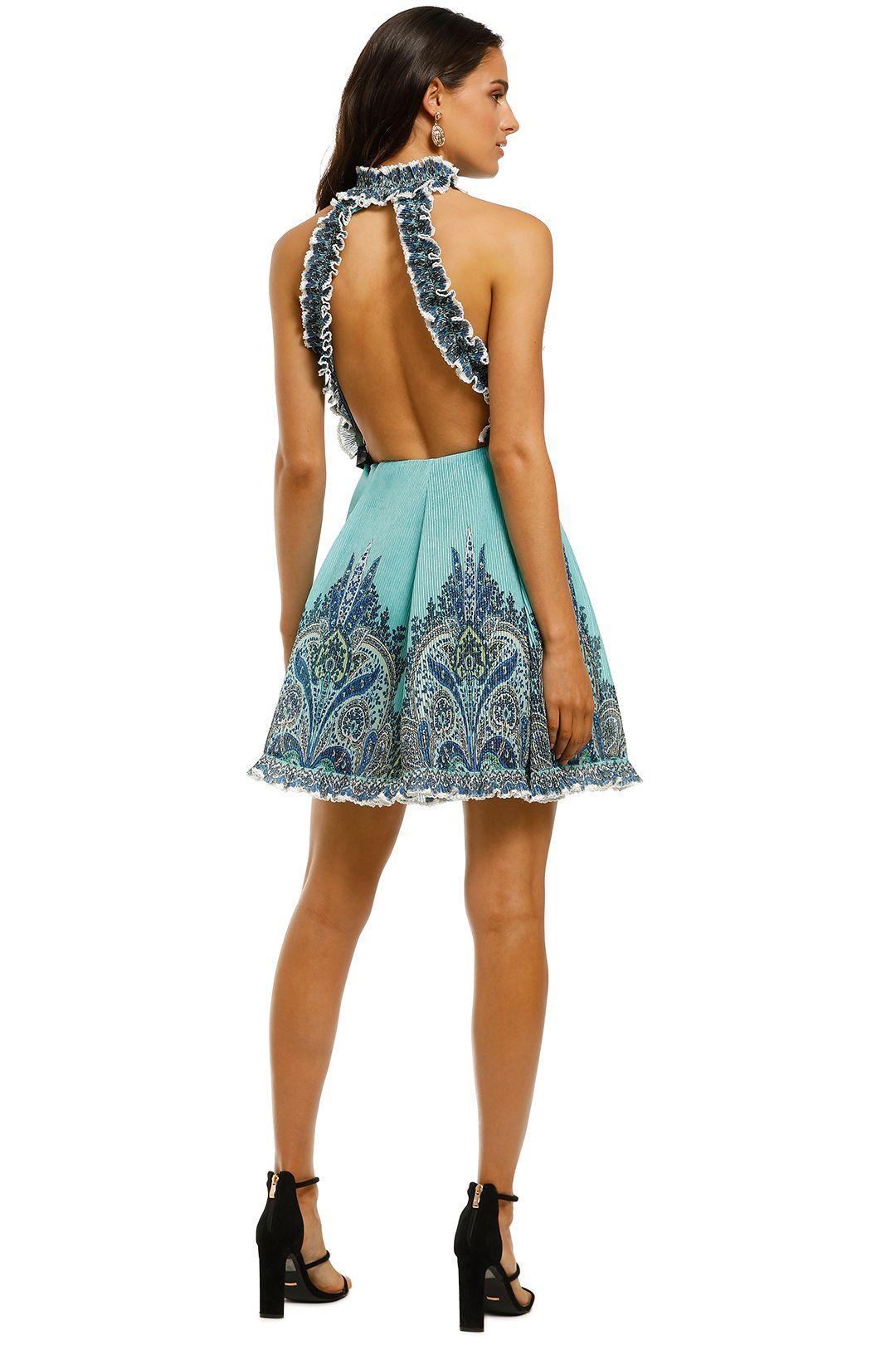 Zimmermann-Moncur-Ruffle-Neck-Mini-Dress-Aqua-Paisley-Back