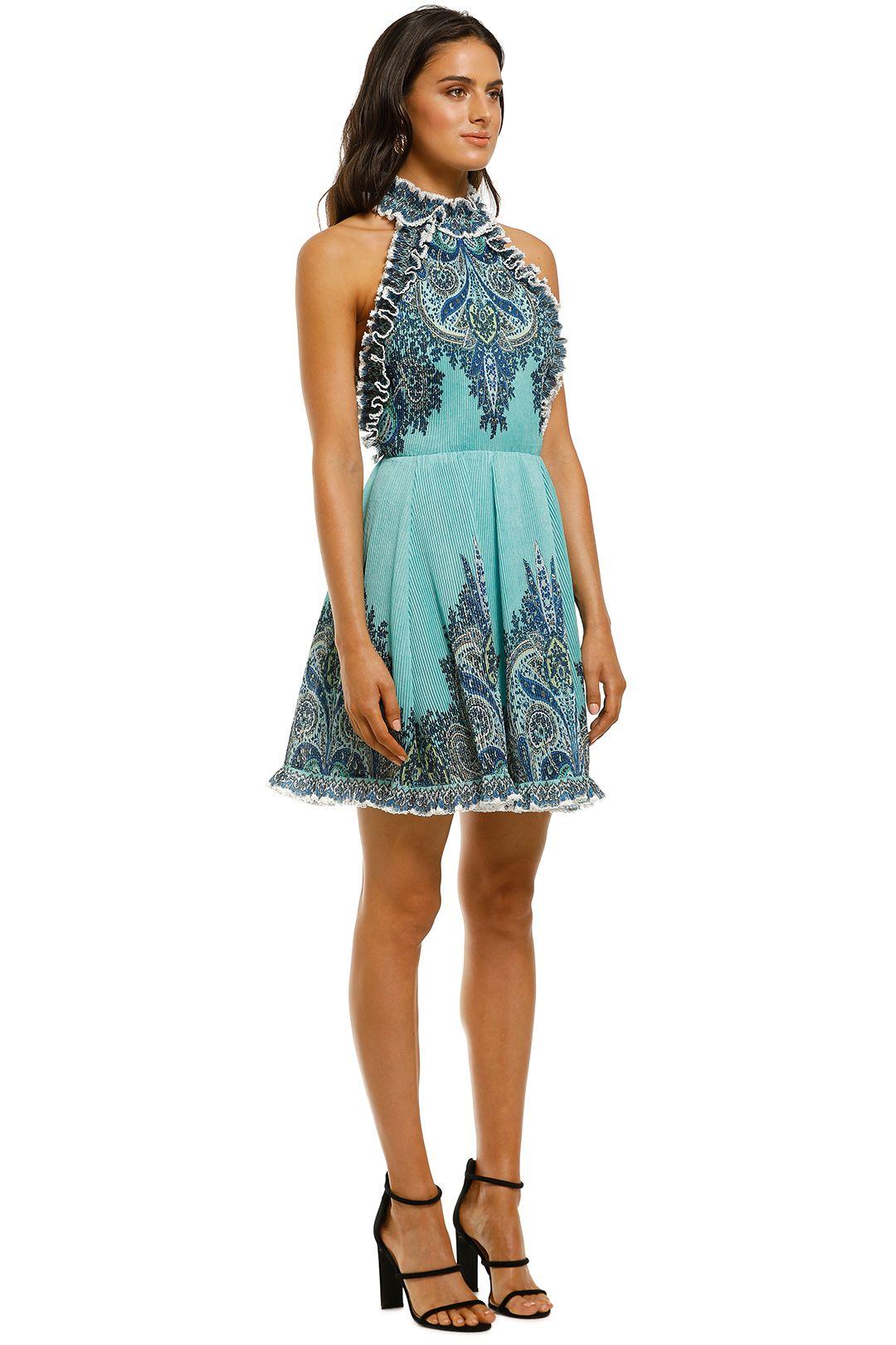 Zimmermann-Moncur-Ruffle-Neck-Mini-Dress-Aqua-Paisley-Side