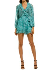 Zimmermann-Moncur-Ruffle-Playsuit-Turquoise-Front