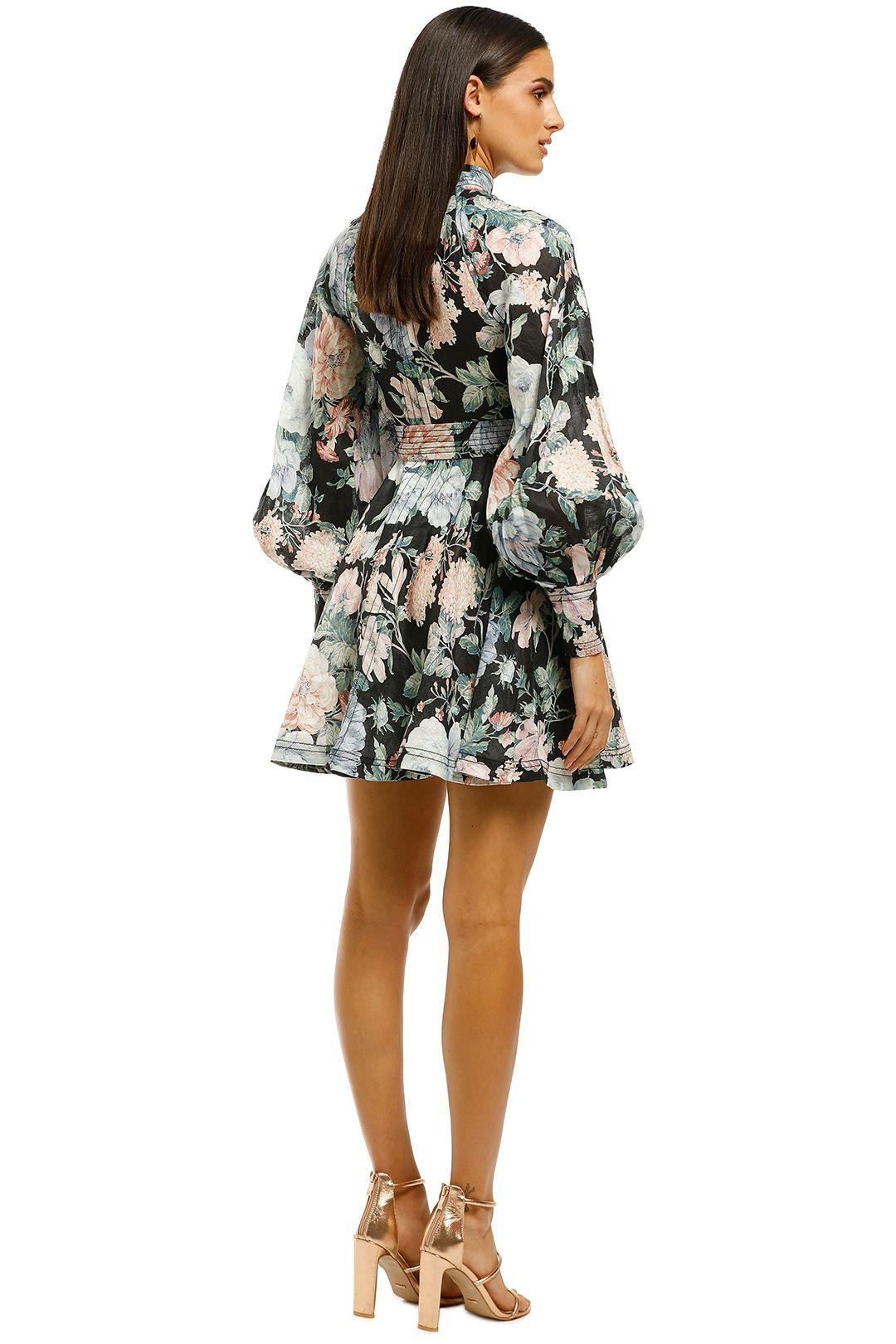 Zimmermann-Verity-Rouleau-Short-Dress-Black-Floral-Back