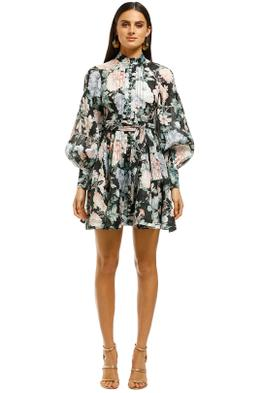Zimmermann-Verity-Rouleau-Short-Dress-Black-Floral-Front