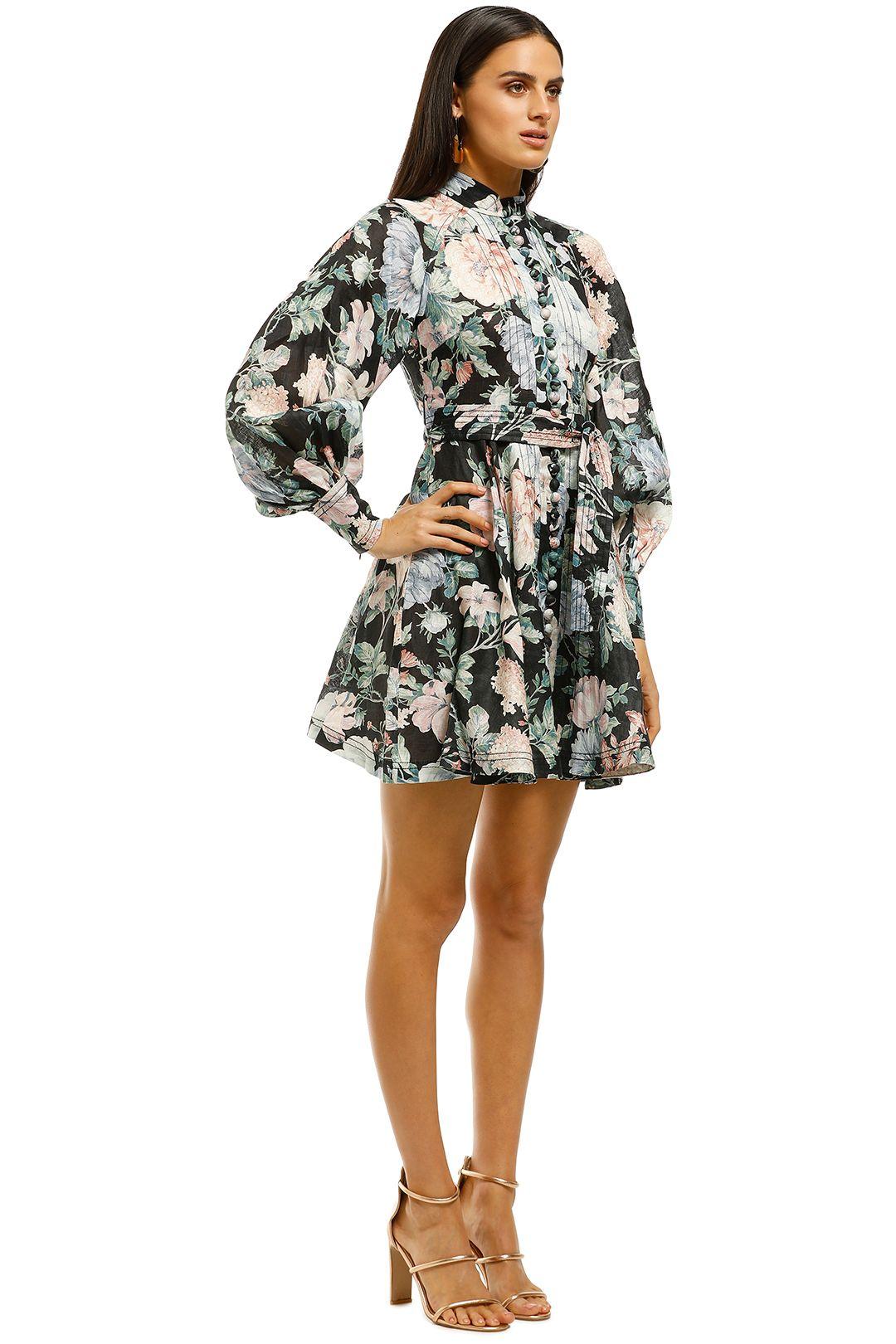 Zimmermann-Verity-Rouleau-Short-Dress-Black-Floral-Side