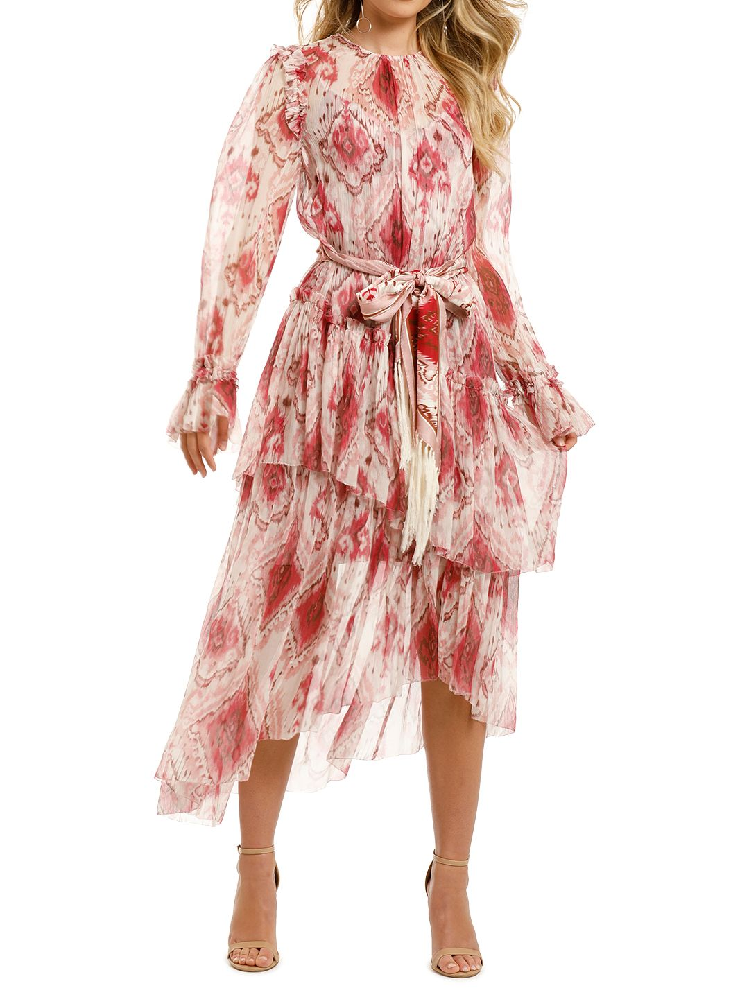 Zimmermann-Wavelength-Asymmetric-Dress-Raspberry-Ikat-Front