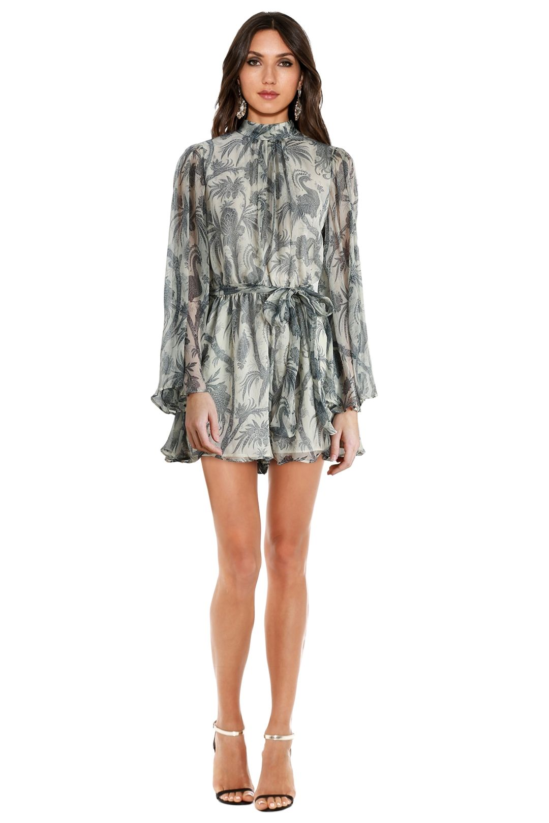 Zimmermann - Adorn Flare Sleeve Playsuit - Blue Bird - Front