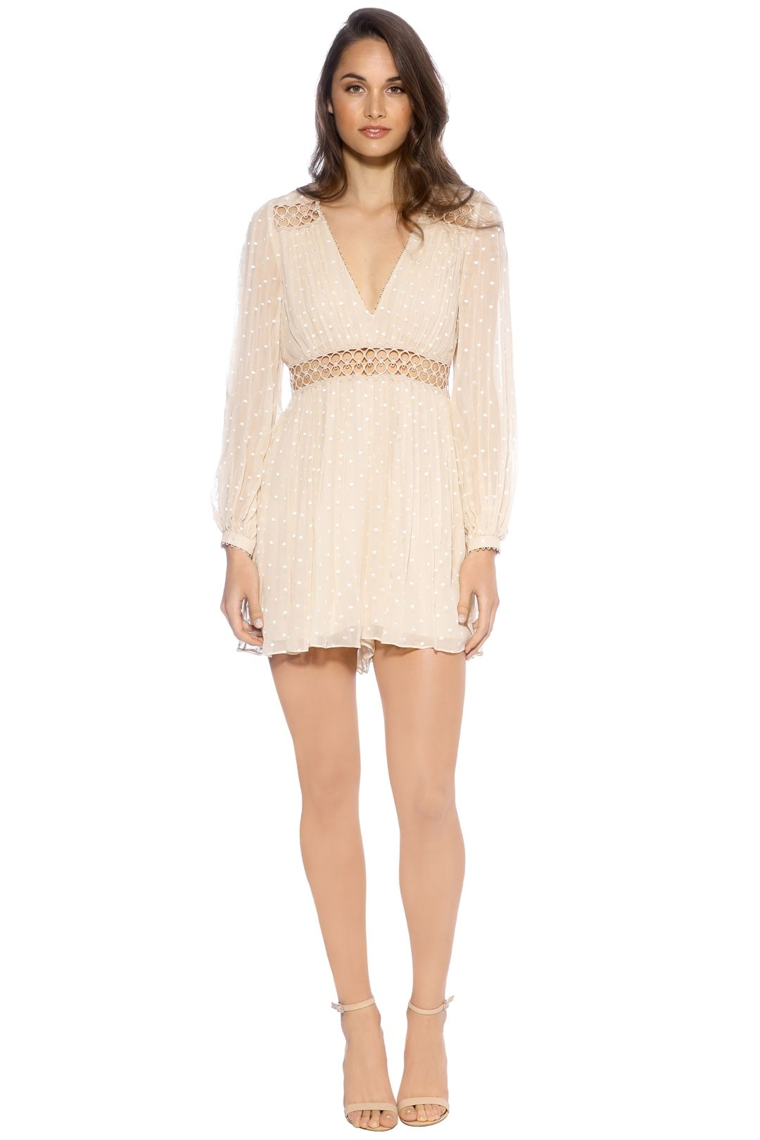 Zimmermann - Bowerbird Empire Playsuit - Front - Beige