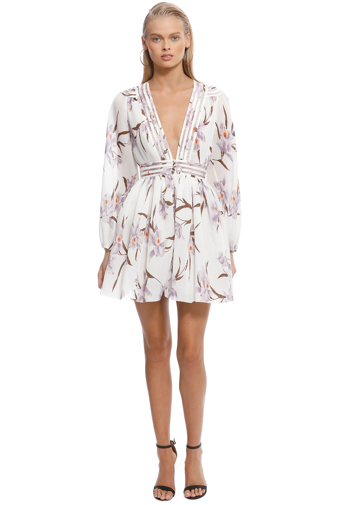 Zimmermann - Corsage Plisse Mini Dress - Ivory Print - Front
