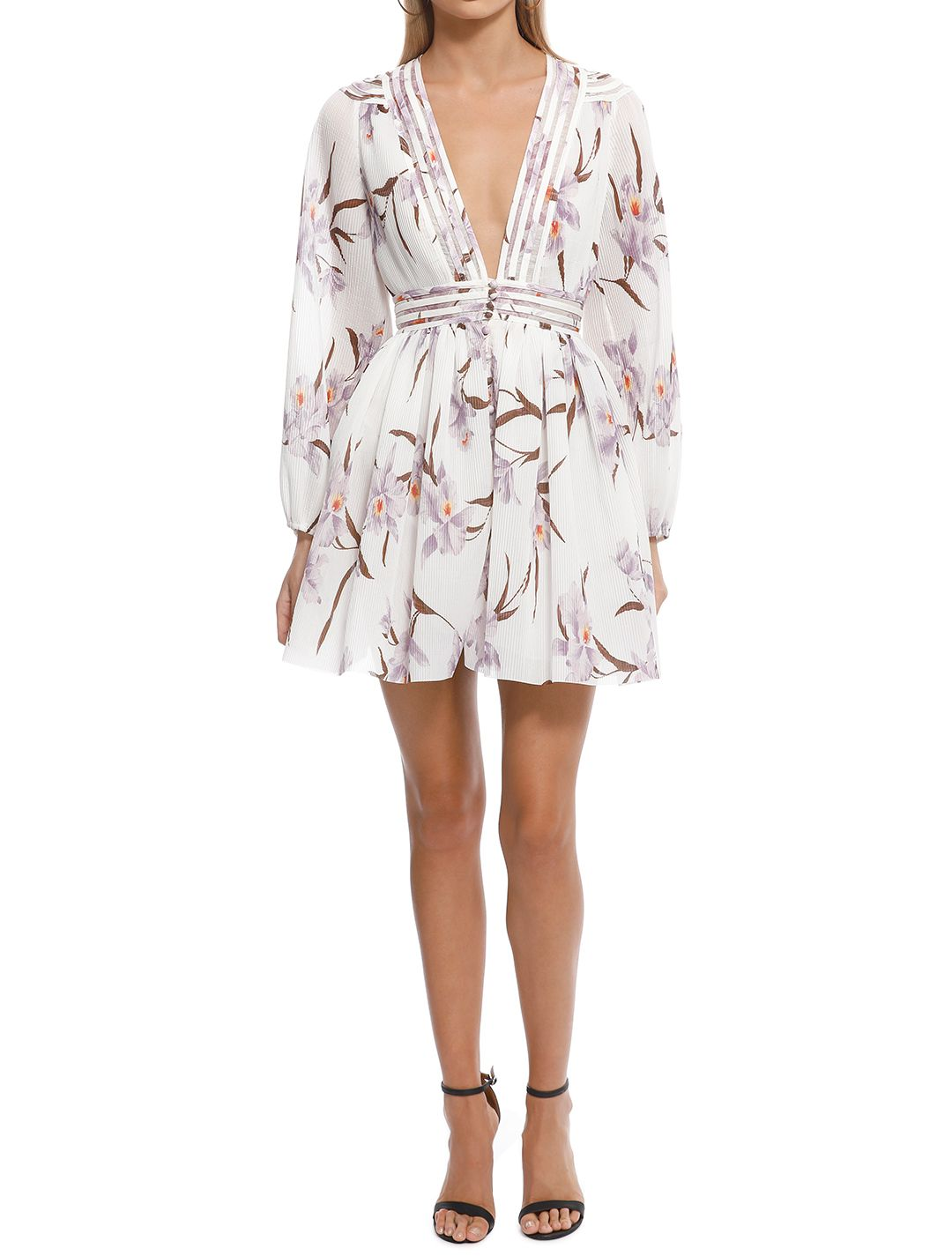 Zimmermann - Corsage Plisse Mini Dress - Ivory Print - Front