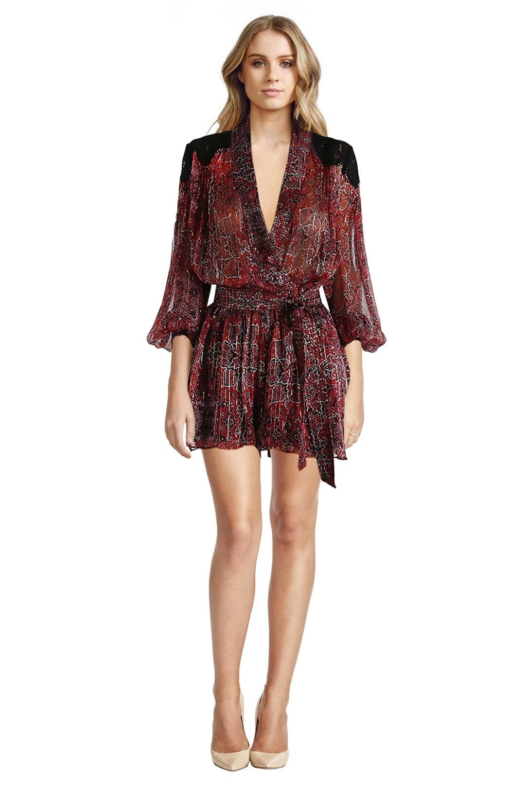 Zimmermann - Empire Filigree Playsuit - Rouge Konya Print - Front