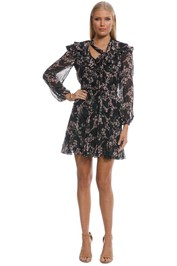 Zimmermann - Fleeting Flounce Mini Dress - Black Floral - Front
