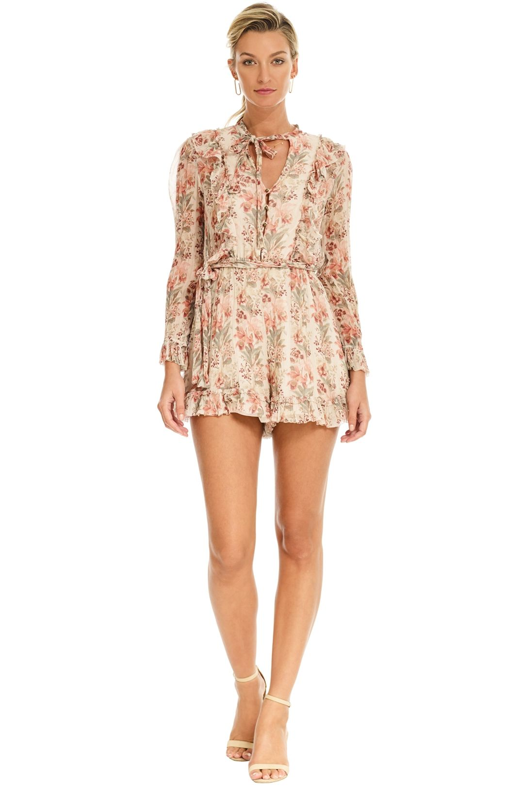 Zimmermann - Folly Neck Tie Playsuit - Cream Floral - Front
