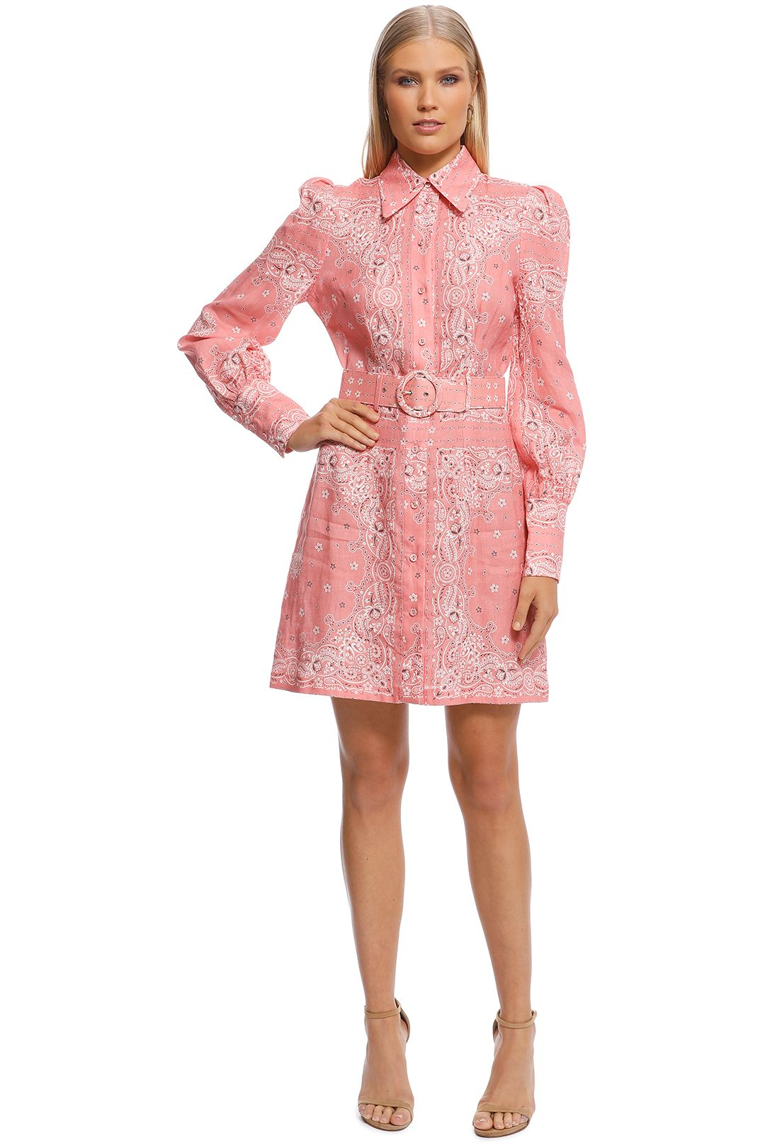Zimmermann - Heathers Bandana Shirt Dress - Pink - Front
