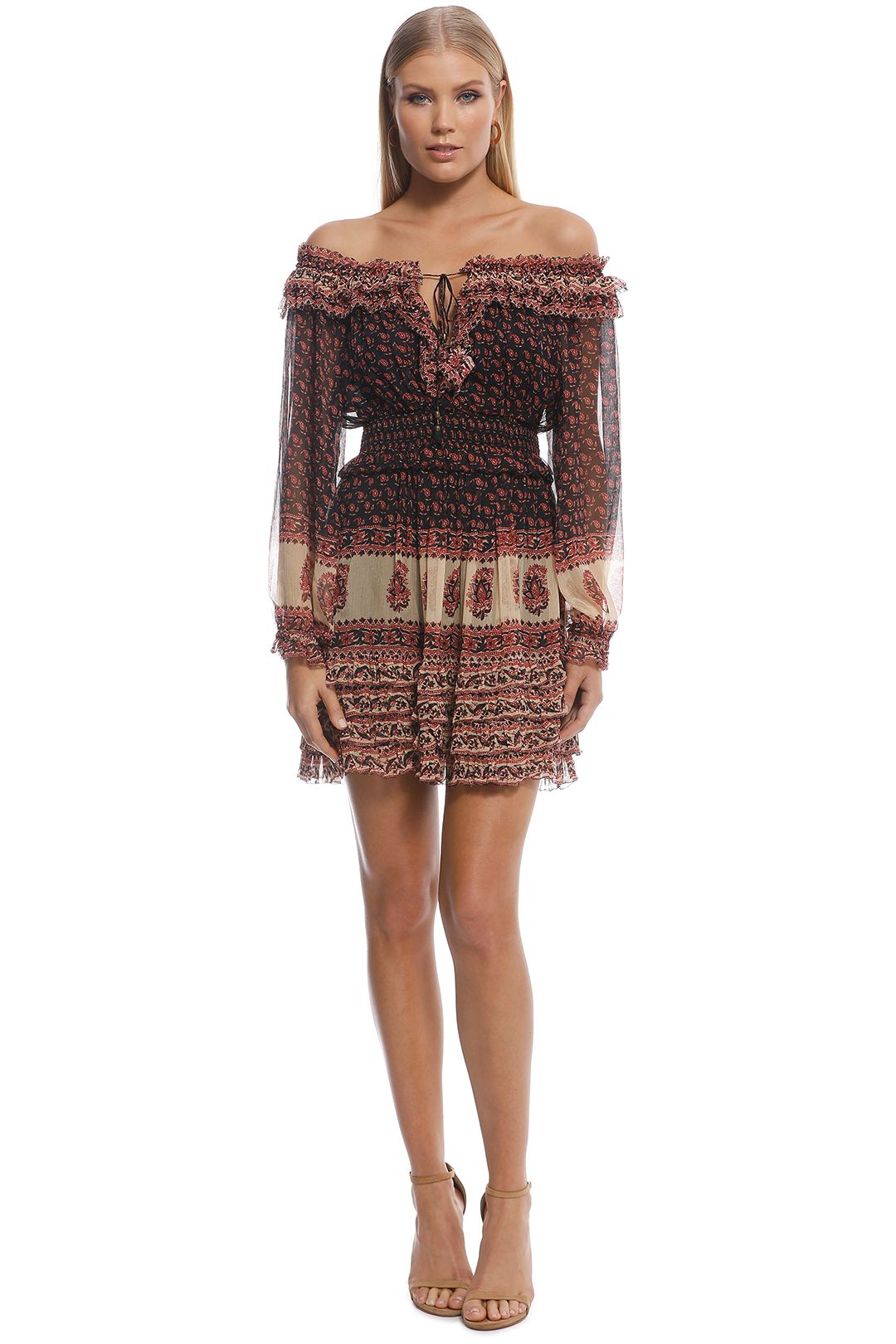 Zimmermann - Jaya Stamp Frill Dress - Maroon - Front