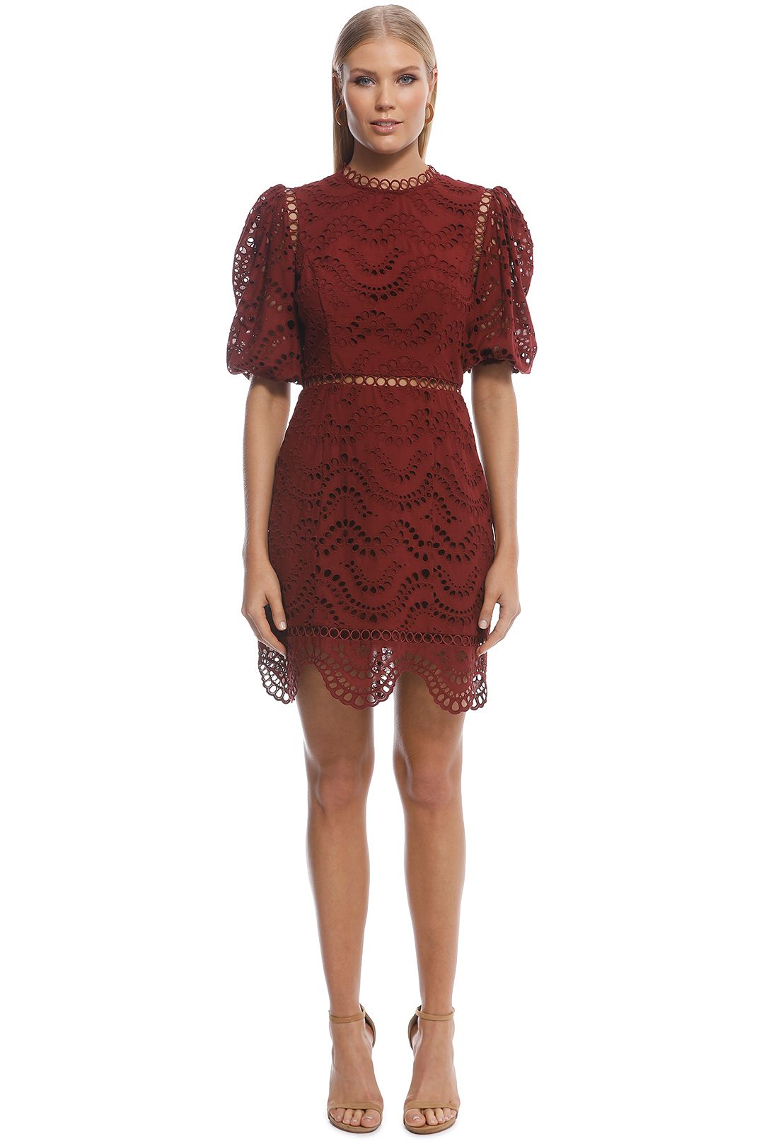 Zimmermann - Jaya Wave Short Dress - Merlot -  Front