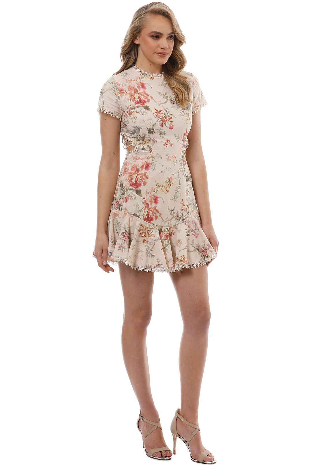 Zimmermann - Mercer Flutter Dress - Cream Floral - Side