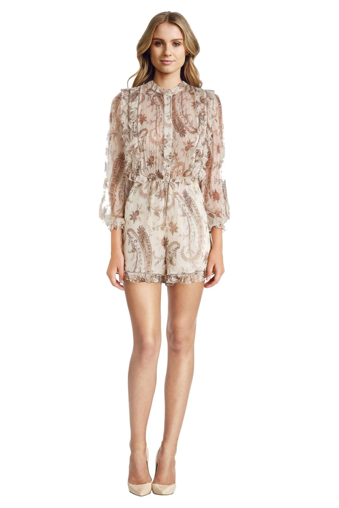 Zimmermann - Mischeif Frill Playsuit - Rustic Paisley Print - Front