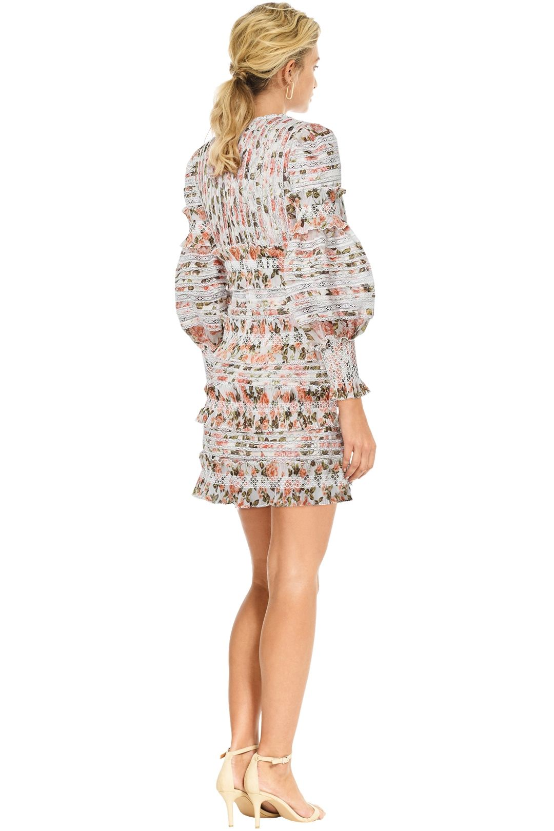 Zimmermann - Radiate Smocked Mini Dress - Peach Floral - Back