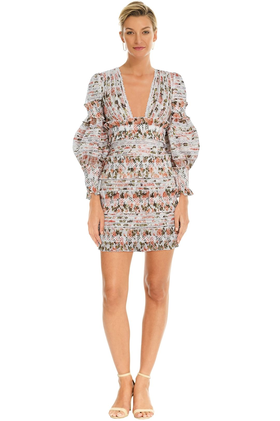 Zimmermann - Radiate Smocked Mini Dress - Peach Floral - Front