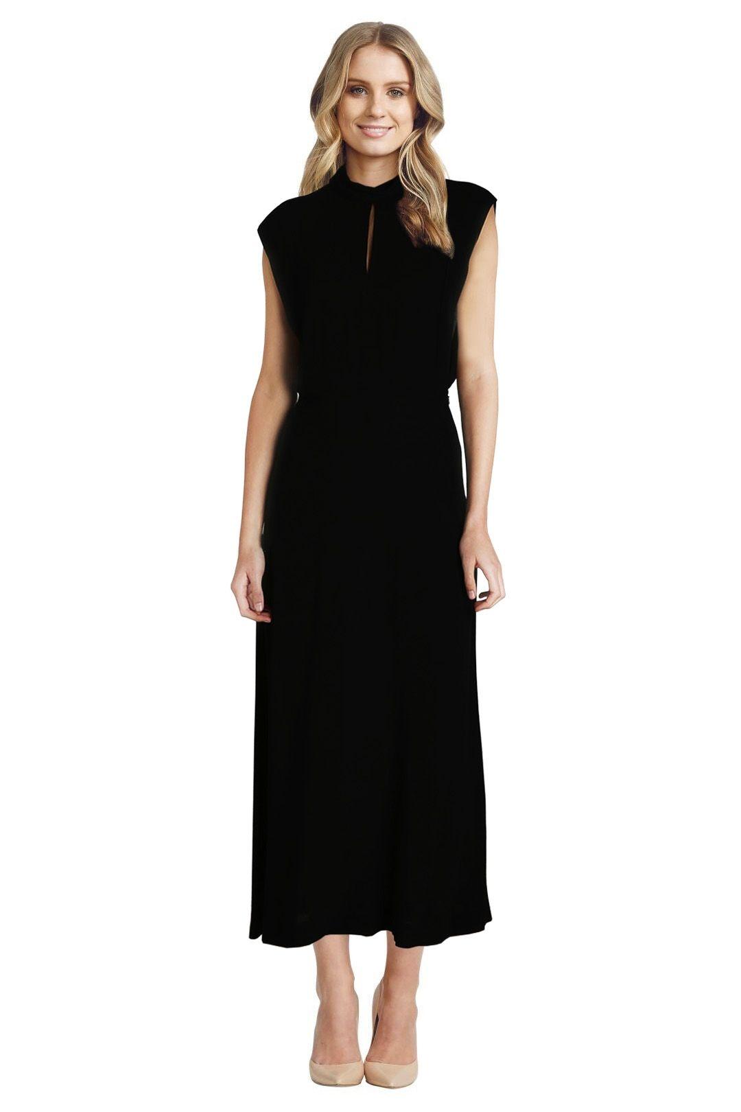 Zimmermann - Roll Collar Long Dress - Black - Front
