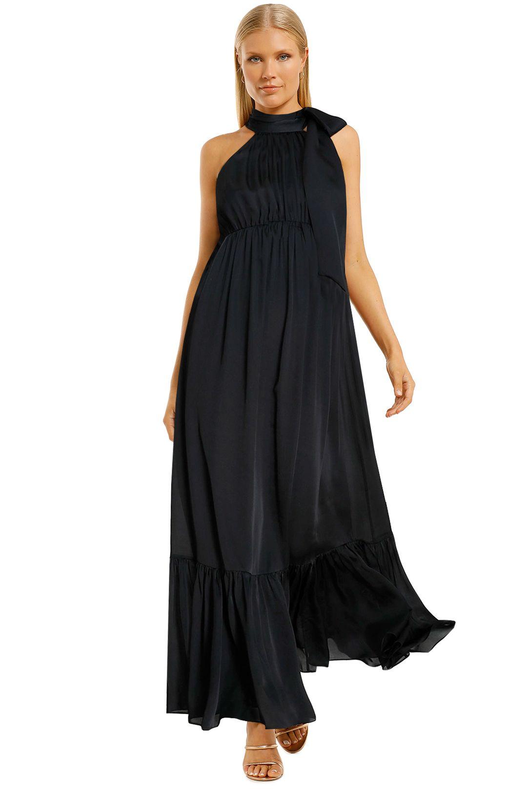 Zimmermann-Gathered-Bow-Tie-Dress-Black-Front