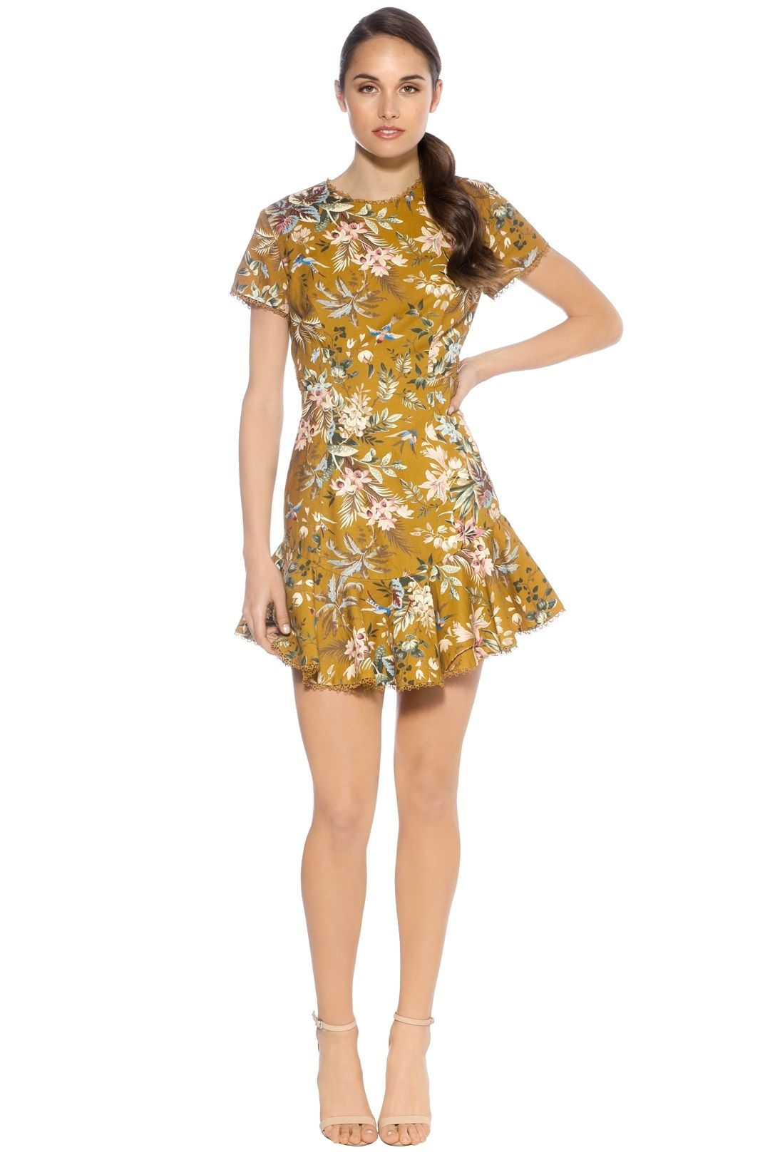 Zimmermann - Tropicale Lattice Dress - Mustard - Front