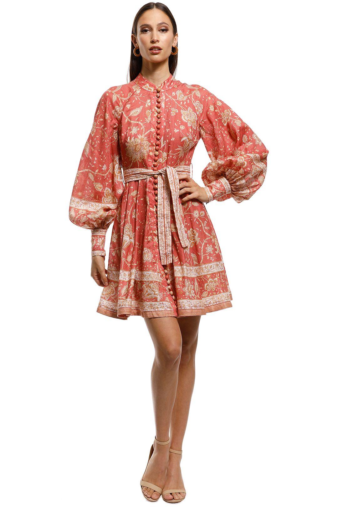 Zimmermann - Veneto Border Short Dress - Pink - Front