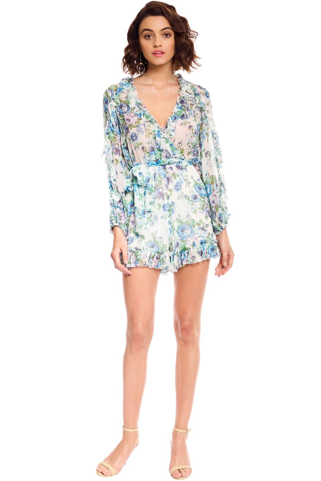 Zimmermann - Whitewave Ruffle Playsuit - Blue Floral - Front