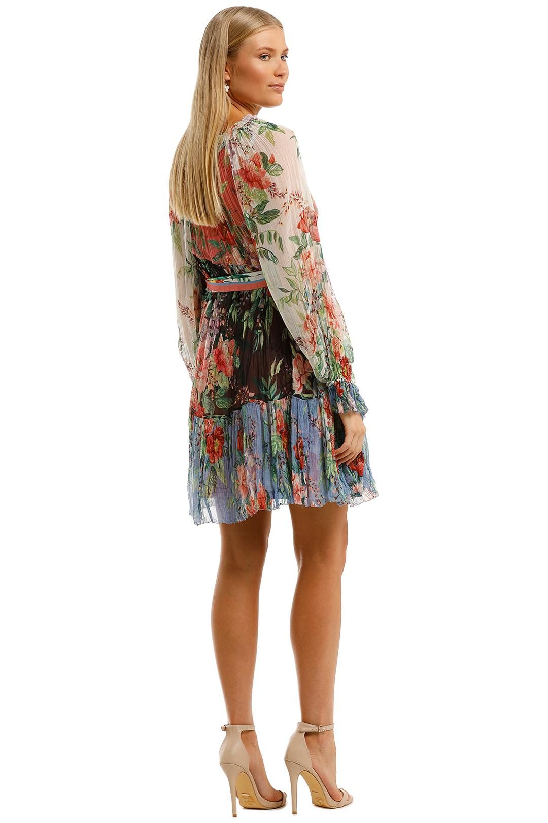 Zimmermann Bellitude Spliced Short Dress Colour Block Floral