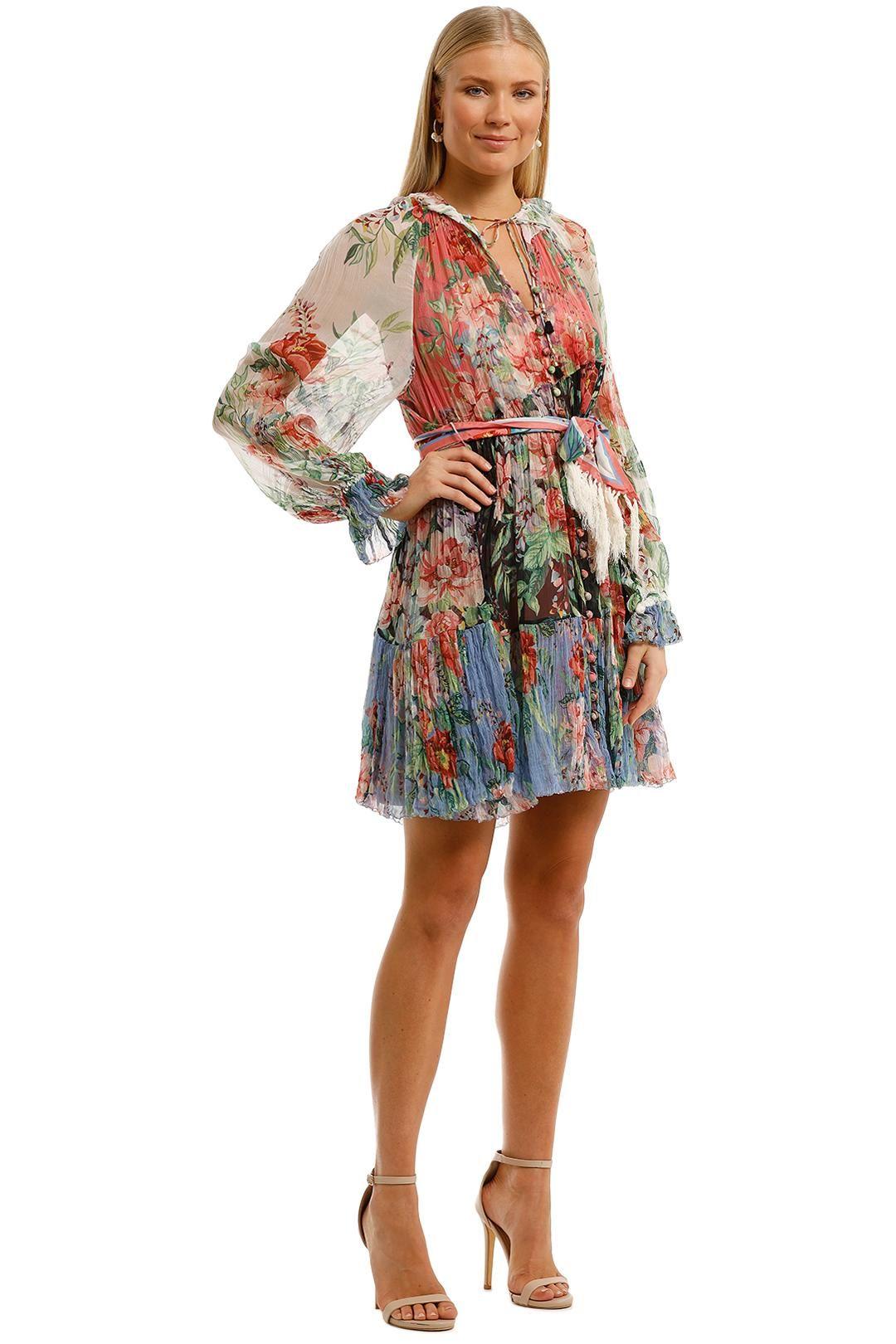 Zimmermann Bellitude Spliced Short Dress Sheer Sleeve Boho